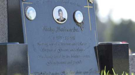 Ricky Balcombe's grave at Geelong Eastern Cemetery. Picture: Alan Barber