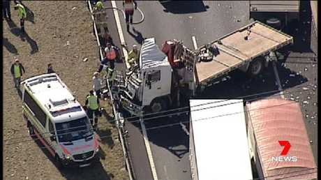 Eastern Creek: The M7 is closed southbound after a three-vehicle crash near Wallgrove Road. Picture: Seven News