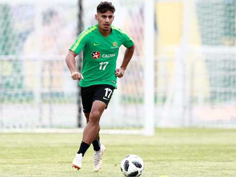 Daniel Arzani on the training track. Picture: AFP