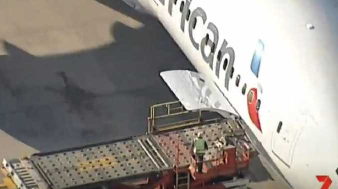 The incident is reportedly unfolding near an American Airlines plane at Sydney airport. Picture: 7 News