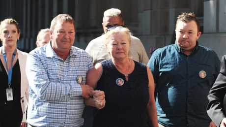 The family of murdered teen Ricky Balcombe, mother Christine Loader, father Graeme Loader and brother Tee-Jay Loader leave the Supreme Court in Melbourne, Monday, April 23, 2018. Picture: AAP Image/Stefan Postles.