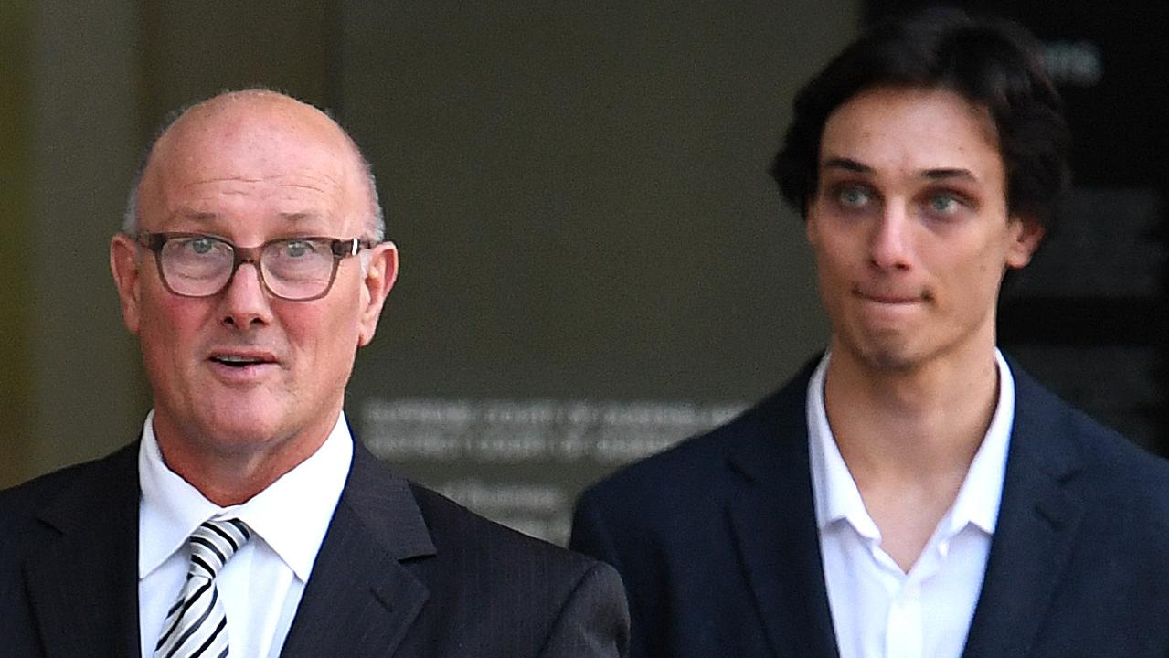 David Pirie (left) and Lachlan Pirie are accused of attacking neighbour Jennifer Toohey in February 2017. Picture: Dan Peled/AAP