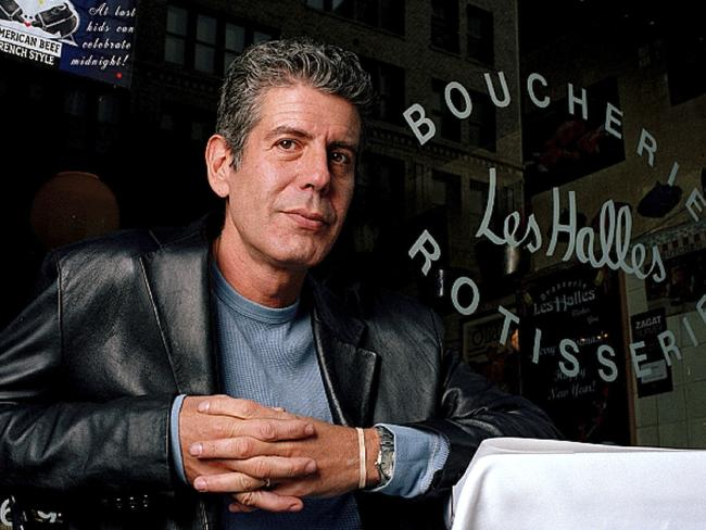 Anthony Bourdain in 2001 when he was the owner and chef of Les Halles restaurant, in New York. Picture: AP Photo/Jim Cooper