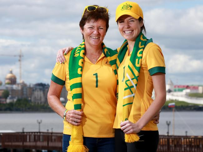 Mat Ryan's Mum Carol and sister Megan are among the 26-strong group that has arrived in Kazan. Picture: Toby Zerna
