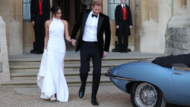 Designer Stella McCartney is selling limited copies of Meghan Markle's wedding reception dress. Picture: AFP/POOL/Steve Parsons