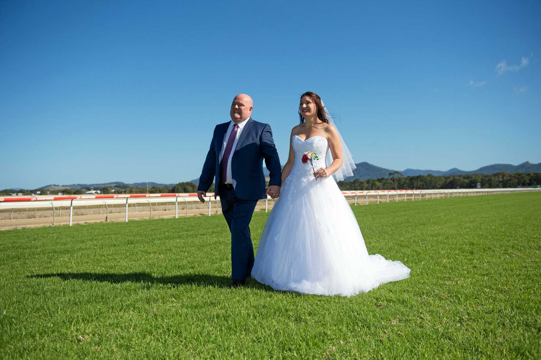 Married at the track Bob Foster and Renee Herbert.