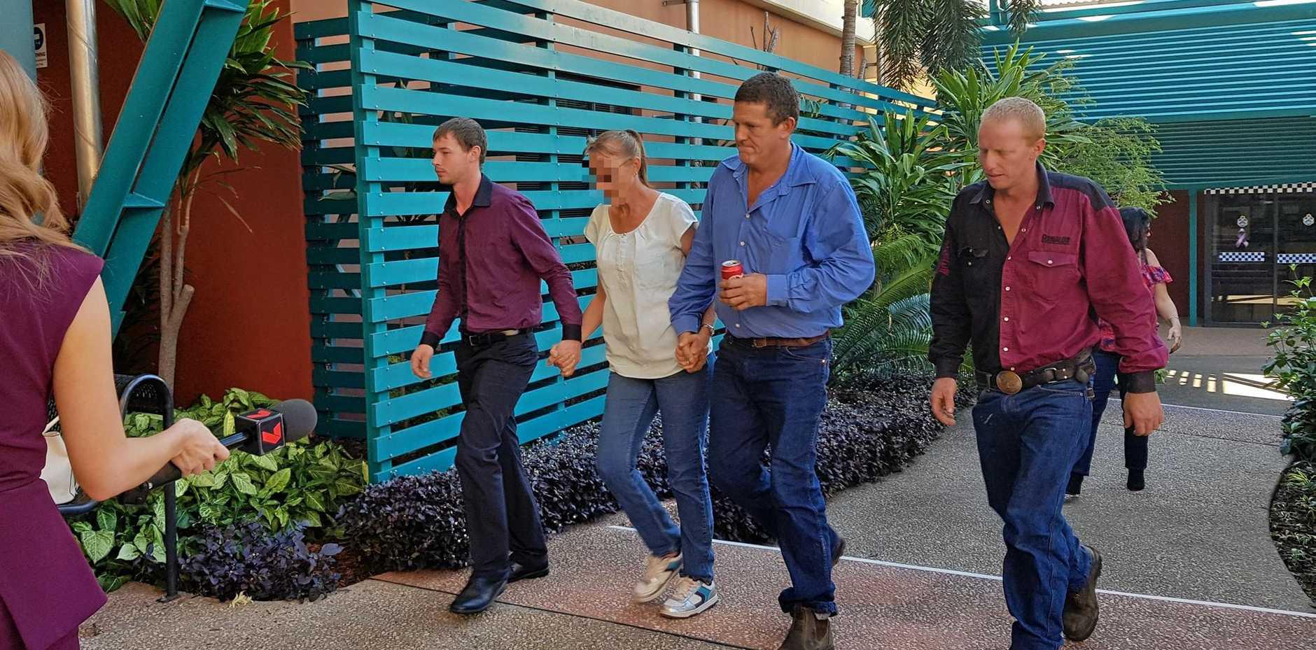 SENTENCED: (L-R) Matthew Douglas, Kenneth Douglas and Jesse Douglas enter Gladstone Court House before being sentenced.