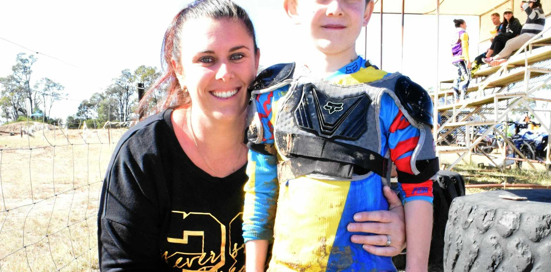 START YOUR ENGINES: Rebecca Hammermeister and Braxton Wilkes at the Chinchilla Motocross Club Club Day on Saturday.