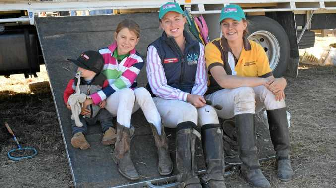 HORSING AROUND: Vince Johnson, Peg Thornton, Leticia Payten, and Jane Thornton at the Tara Polocrosse Carnival on the weekend.