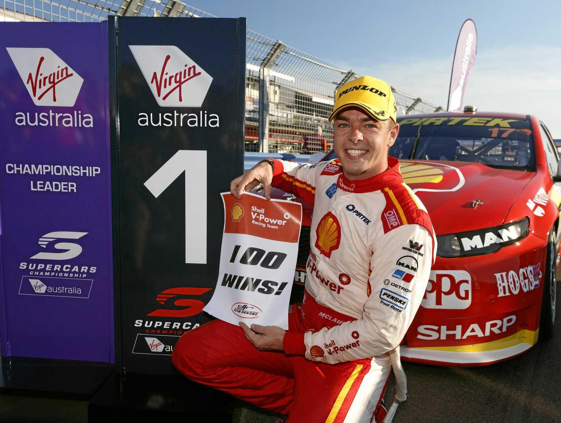 Scott McLaughlin celebrates after winning race one of the Darwin Triple Crown at Hidden Valley Raceway, Darwin.