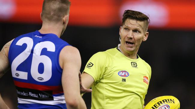 The AFL is trialling four field umpires in Rounds 13 and 14. Picture: Michael Klein