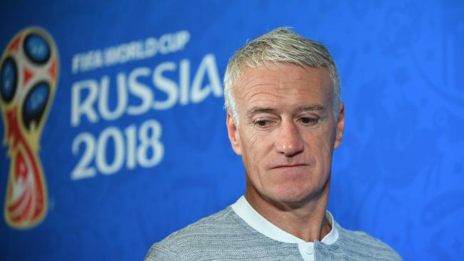 France's coach Didier Deschamps speaks to media at Kazan Arena in the lead-up to his side's opening match against Australia. Picture: Dean Lewins/AAP