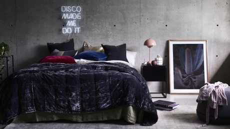 Luxurious velvet bedspreads, such as this beauty from Nathan + Jac, create an elegant, yet cosy, feel.