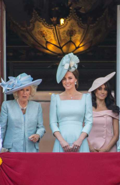 Meghan Markle, Duchess of Sussex's, first appearance on the balcony of Buckingham Palace during Trooping the Colour 2018. Picture: MEGA