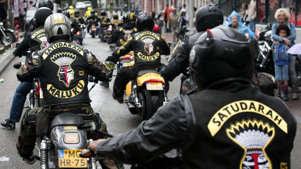 Members of the Dutch division of the Satudarah bikie gang gather to demonstrate in Amsterdam. Picture: AFP