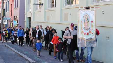 The Pro-Life procession leaves St Peter's Catholic Church in Surry Hills.