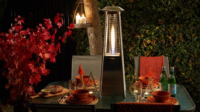 Enjoy entertaining outdoors in warmth with a Fiammetta heater from Bunnings.
