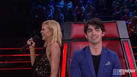 Sonia Kruger has a chuckle after mishearing Joe Jonas.