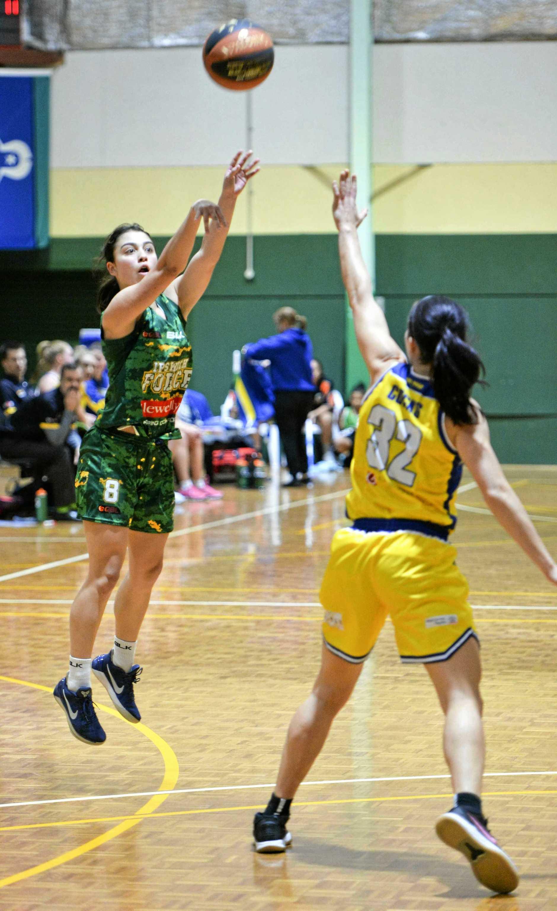 Queensland Basketball League match between Ipswich Force and Townsville Flames. Ipswich's Kate Head