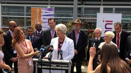 Rockhampton Region mayor Margaret Strelow addresses media last year at the Rockhampton Airport, where Adani officials signed an agreement which would see the city become one of two FIFO Hubs for its Carmichael Coal Mine.