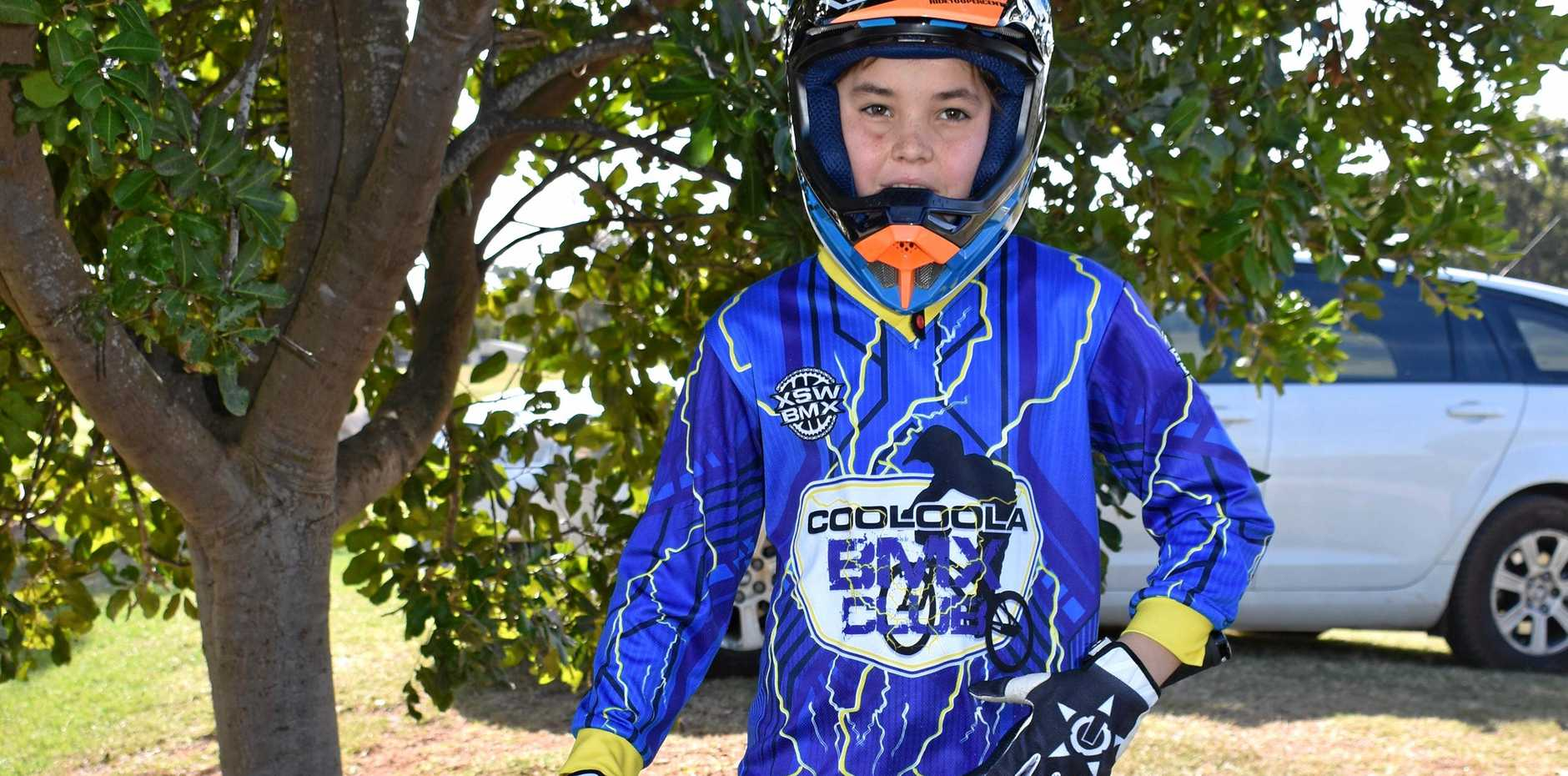 Jaxson Rendell is ready to take to the track at Gympie at the BMX racing on Sunday.