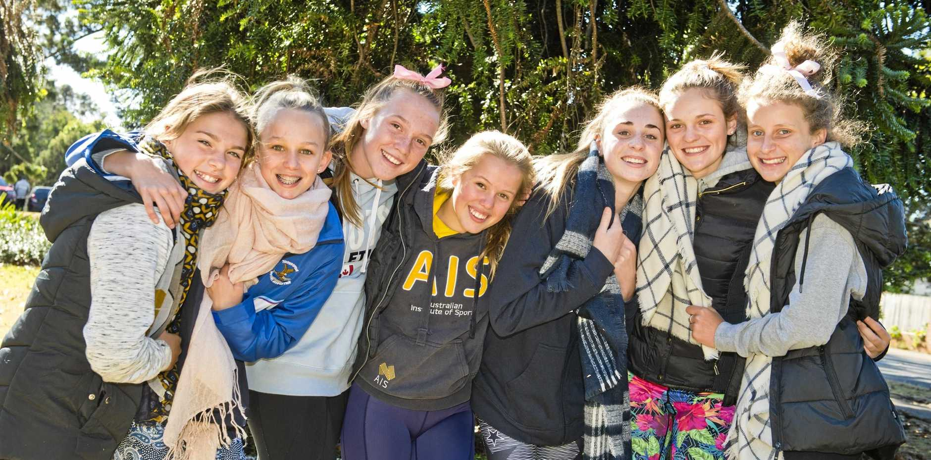 FEELING THE CHILL: Windy conditions can't stop a 13-year-old's olds birthday party in Queens Park (from left) Taleah Ackland, birthday girl Kingsley Brimblecombe, Maddy Weir, Mia Rogers, Layn Arnold, Jessica Fitzgibbons and Lucy Blakeney.