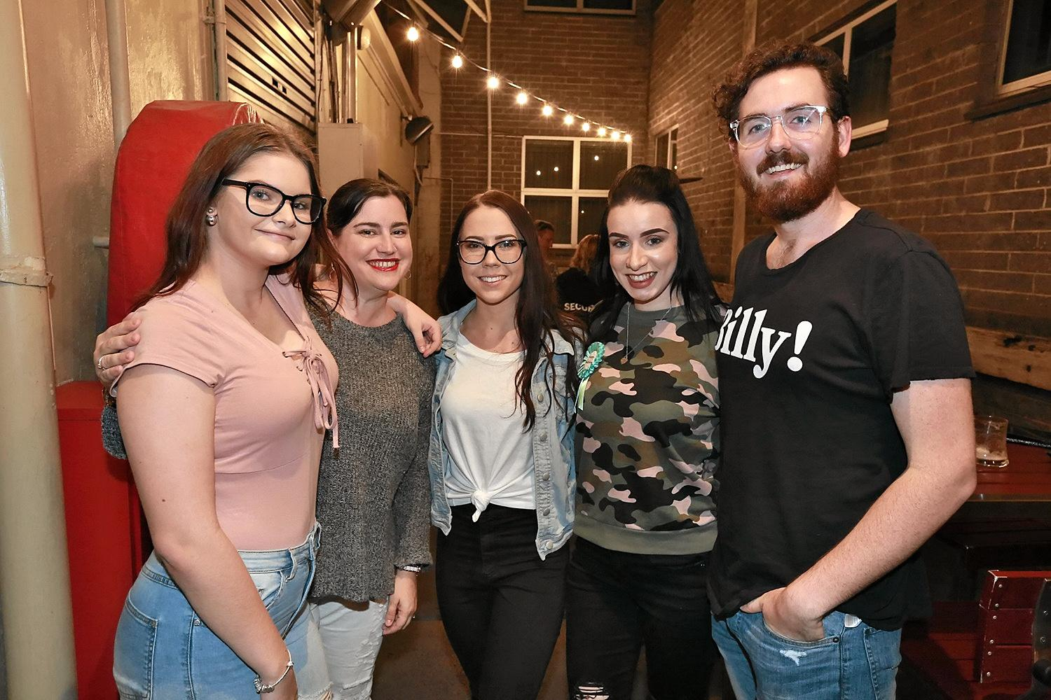 L-R Taylah Twigg, Renee Gibbins, Tayla Reed, Kim Harney and Orson Saunders at the Ginger Mule.