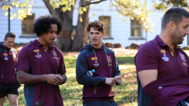 Kalyn Ponga scores from dummy half Kalyn Ponga and the Queensland Origin team hold their game day team walk in Melbourne ahead of tonights game 1 at the MCG. Pics Adam Head