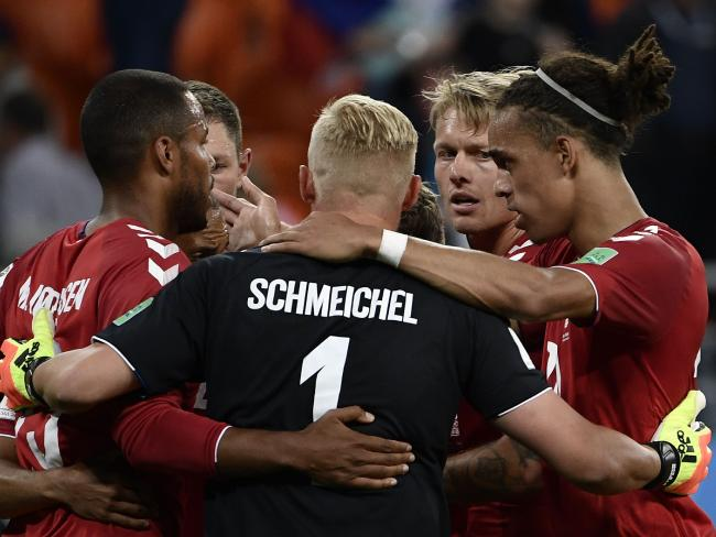 Kasper Schmeichel (C) was inspirational in goal for Denmark. Pic: AFP