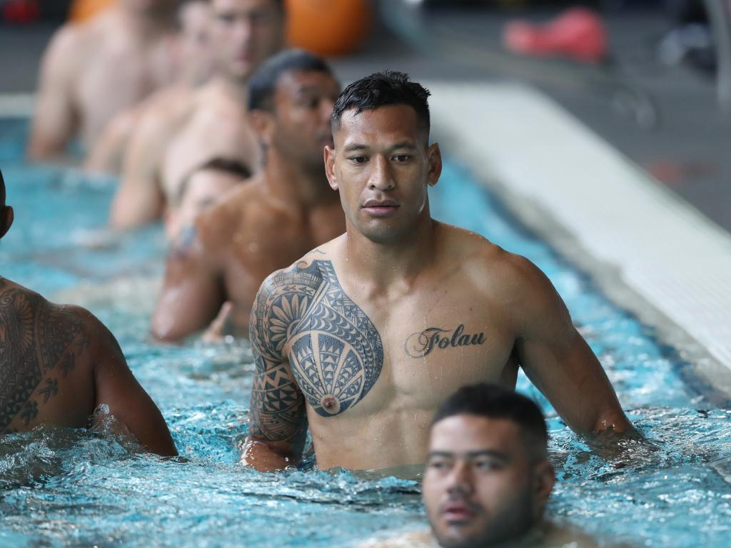 Israel Folau at the Wallabies' Sunday morning recovery session. Picture: AAP