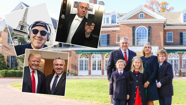The Hockey family outside the ambassador's residence White Oaks with images from Mr Hockey's Instagram (inset).
