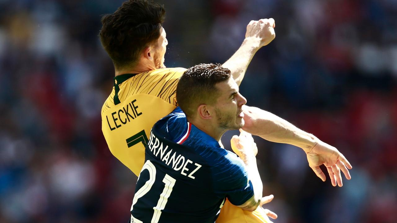 Lucas Hernandez and Mathew Leckie had quite a tussle. Picture: AFP.
