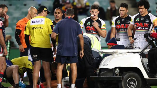 Play was halted for several minutes as Mitchell was taken from the field. AAP Image/Brendon Thorne.