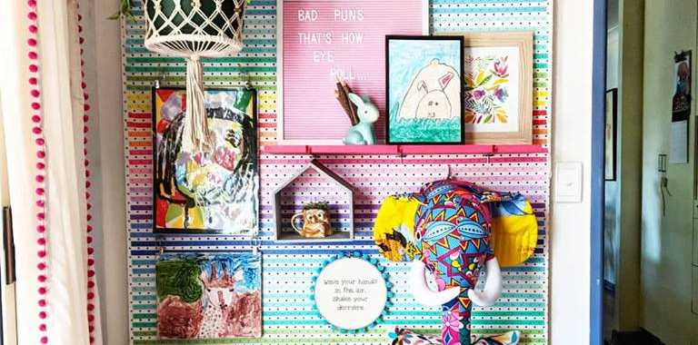 The pegboard decorated with Kmart washi tape.
