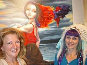 Annie Holloway and artist Kirty Bell at the launch of