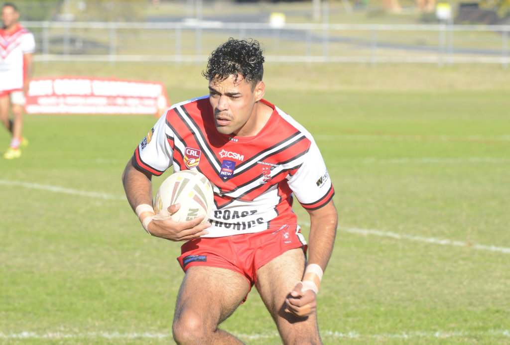 Luke French spots a gap in the defensive line ahead of his first try during the Group 2 rugby league first grade clash between South Grafton Rebels and Nambucca Heads Roosters at McKittrick Park.