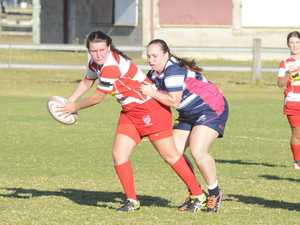 Rubies utility Rachel Kay looks for support during
