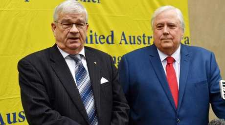 Former One Nation Senator Brian Burston and businessman Clive Palmer at a press conference to announce the formation of the United Australia Party at Parliament House in Canberra, Monday, June 18, 2018. Picture: Mick Tsikas/AAP