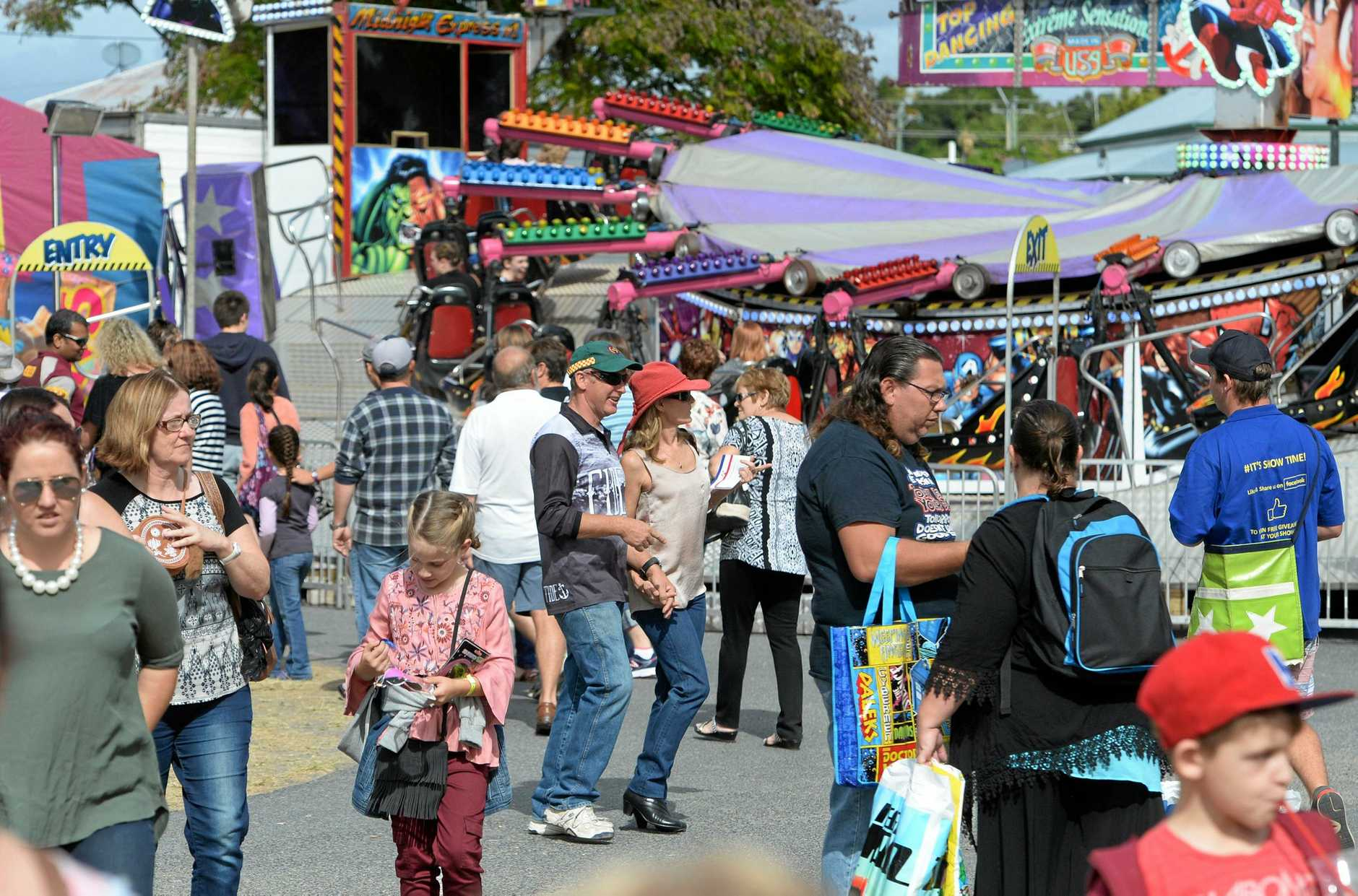COMBINED SHOW: Large crowds from the Rockhampton Show in 2016, when the agricultural and amusement ride societies held a joint event.