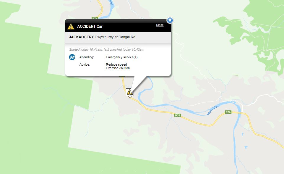 A vehicle has landed on its roof on the Gwydir Highway, Jackadgery