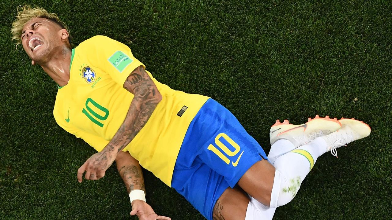 Neymar spent a lot of time writhing in pain on the ground. Picture: AFP.