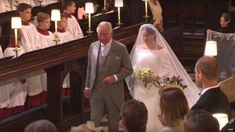 Meghan Markle's father said he was grateful Prince Charles had walked her down the aisle instead. Picture: BBC