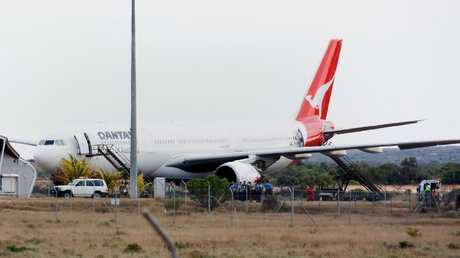 The Qantas A330 after it landed at Learmonth, Western Australia, on October 7, 2008. Picture: AAP/Kristin Anderson