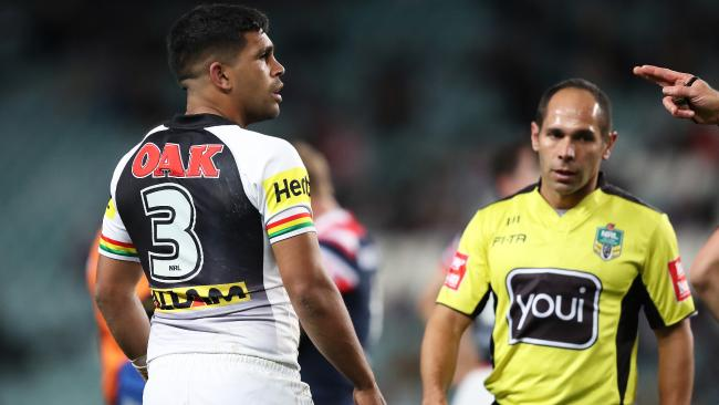 Tyrone Peachey gets his marching orders. Or strolling orders. (Brett Costello)