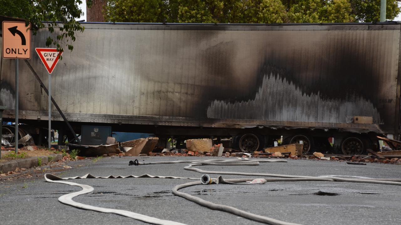 The scene after the truck crashed and caught fire in Singleton. Picture: Catherine Clifford