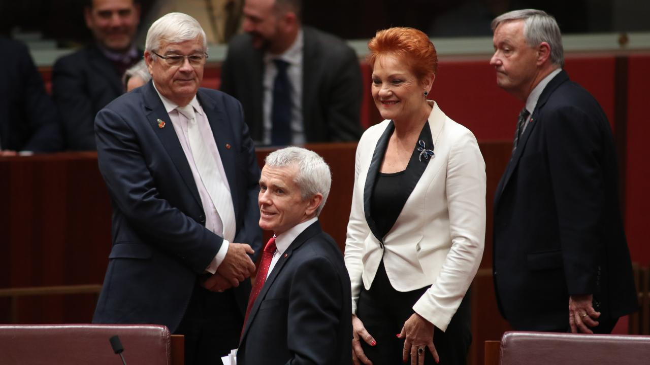 One Nation leader Pauline Hanson with former party members Brian Burston (left) and Malcolm Roberts (centre). Picture Gary Ramage