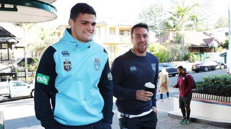 Nathan Cleary with Blues and Panthers teammate James Maloney. Picture: Brett Costello