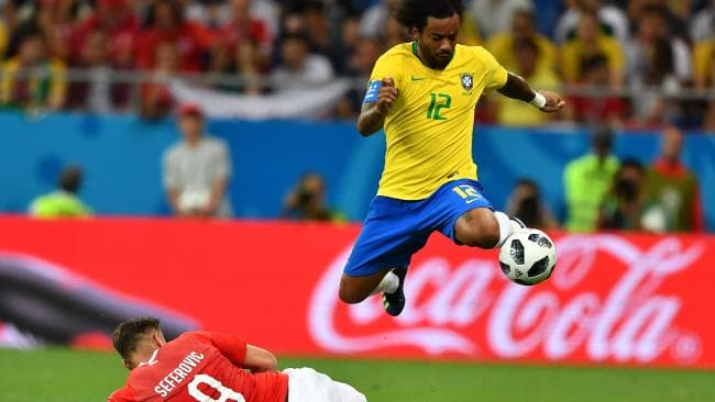 Brazil's defender Marcelo controls the ball during the Russia 2018 World Cup Group E football match between Brazil and Switzerland. Picture: Joe Klamar