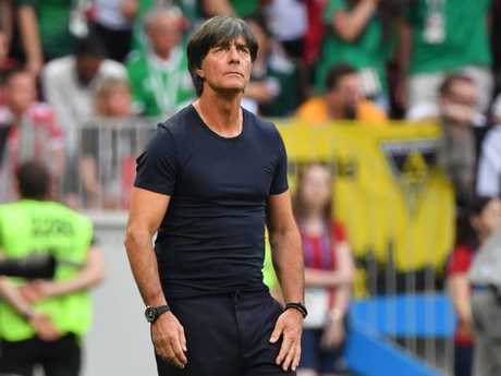 Germany's coach Joachim Loew looks on as his team went down to Mexico.