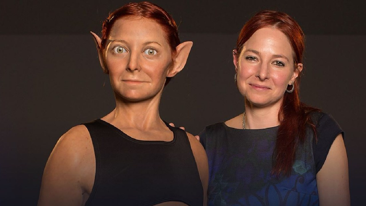 Professor Alice Roberts, right, presents Alice 2.0 - her evolutionary ideal self. Picture: BBC